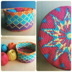 Colorful wayuu bag Form Crochet, Crochet Chart, Crochet Hooks, Knit Crochet, Crochet Patterns, Tapestry Bag, Tapestry Crochet, Diy Crochet Basket, Yarn Painting