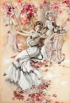 Edwardian lady on an autumn swing by Harrison Fisher Pub Vintage, Vintage Art, Vintage Ladies, Illustrator, Foto Transfer, Art Simple, Art Watercolor, Gibson Girl, Christmas Drawing