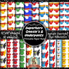 Superhero Scrapbook Paper Digital Paper Superhero Onesie