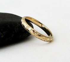 Gold Floral Pattern Ring Womens Gold Wedding Band by SilverSmack
