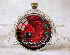 RED FIBONACCI SPIRAL Necklace Golden Mean by ThePendantGarden