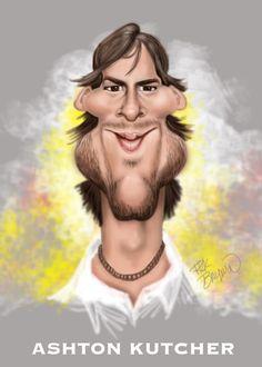 Ashton Kutcher caricature by Rick Baldwin. #caricature #AshtonKutcher