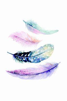 Watercolor Feather Art Print by mesutok Feather Drawing, Feather Wall Art, Watercolor Feather, Feather Painting, Watercolor Paintings, Watercolor Rose Tattoos, Watercolor Mandala, Painting Art, Feather Wallpaper