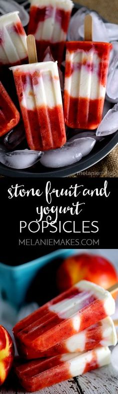 Not only are these Stone Fruit and Yogurt Popsicles loaded with fresh fruit but they also pack a protein punch. Mangos, nectarines and plums are blended together before being layered with honey sweetened Greek yogurt and frozen to create these sweet treats.  These didn't last long in our freezer!