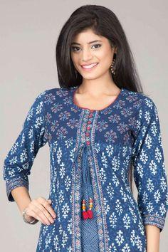 Farida Gupta Kurtas | Enigmatic Indigo Jacket Style A-Line Cotton Kurta By Farida Kurta | IndiaInMyBag.com