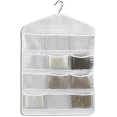 12-Pocket Hosiery Organizer from The Container Store. I use it for tights, Spanx, and knee highs. There's a great large, open pocket on the back perfect for unopened packages of tights, support garments, etc.