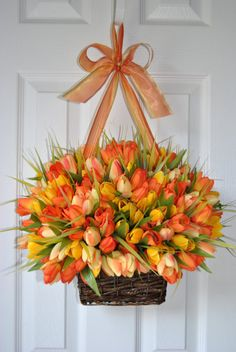 Basket of spring tulips