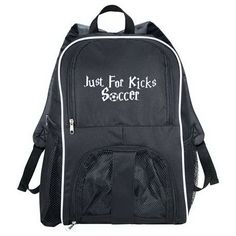 """Your team members will have a ball with this Sportin Match Ball Backpack! Measuring 9"""" x 11.75"""" x 18"""" in size, this bag features a large zippered main compartment. It is made from 600 denier PolyCanvas. The zippered mesh front opening is big enough to hold a full sized basketball, soccer ball, volley ball or other sports equipment. This backback also includes two mesh pockets on the sides along with adjustable straps and a top carry handle. Add your custom imprint for brand aw..."""
