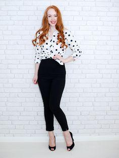 polka dot shirt and capri pants