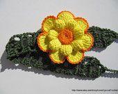 CROCHET BABY HEADBAND, Crochet Yellow Flower, Crochet Flower Headband for Baby Girl, Ready To Ship Crochet Lyubava