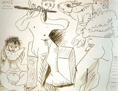 Man with lamb, man eating watermelon and flutist by @artistpicasso #naïveart