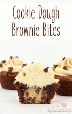Chocolate Chip Cookie Dough Brownie Bites are a delicious stuffed dessert for anyone who enjoys cookie dough and brownies. Chocolate Chip Cookie Dough Brownie Bites are a delicious stuffed dessert for anyone who enjoys cookie dough and brownies. Cookie Dough Frosting, Cookie Dough Brownies, Cookie Dough Recipes, Chocolate Chip Cookie Dough, Baking Recipes, Dessert Recipes, Cookie Dough Cupcakes, Desserts With Cookie Dough, Homemade Cupcake Recipes