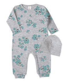 $9.99 marked down from $12.81 Heather Gray & Teal Wild Flowers Romper & Beanie Set - Infant #baby #zulily! #zulilyfinds