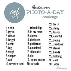 Photography Ideas | October Photo A Day Challenge | Join Us for another year of 365 Photo A Day Challenge | The Idea Room