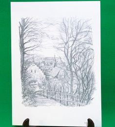 1977 Print Of Pen Sketch By Tübingen Artist Georg Salzmann, Blick Vom Osterberg - $5.95