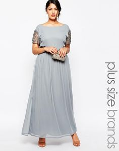 Lovedrobe Maxi Dress With High Neck and Embellished Waist