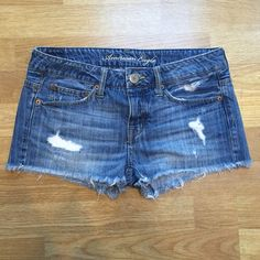 Distressed denim shorts Awesome condition. Just don't fit me anymore! American Eagle Outfitters Shorts Jean Shorts