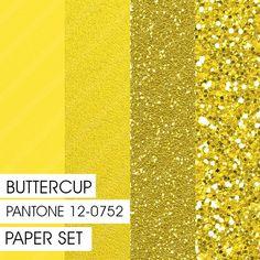 Glitter&Plain PAPER set Buttercup PANTONE by Fashiontelligent