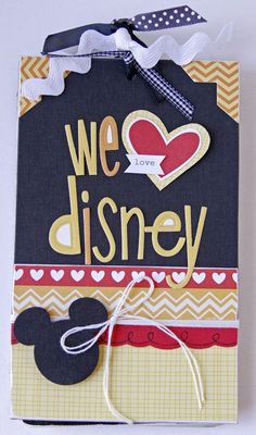 "Today, we have another mini album to share with you. I just love how Designer Gretchen McElveen, used the Sunshine & Happiness collection, to create this fun Disney themed mini album! ""We Love Disney"" mini album, by Gretchen McElveen. Scrapbook Da Disney, Mini Album Scrapbook, Mini Albums Scrap, Scrapbook Photos, Disney Cards, Disney Diy, Disney Travel, Autograph Book Disney, Disney Theme"