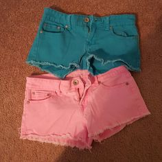 Colored Jean shorts bundle 2 pairs (blue and pink). Great condition Shorts Jean Shorts