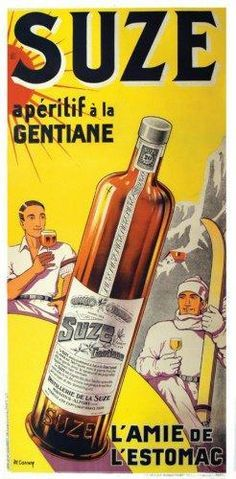 Suze aperitif Vintage Food Posters, Vintage Advertising Posters, Vintage Advertisements, Ads, Pub Vintage, Pin Up Posters, Wine Design, Old Paper, Vintage Recipes