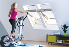 We love this idea of installing a workout station in your loft conversion. Positioning the exercise equipment right in front of your roof windows is an excellent way to feel the outdoors indoors and get some fresh air! Keylite Roof Windows are fitted with Futuretherm technology as standard so there's no hidden costs.