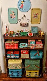 vintage tin picnic baskets | P1080490SH+vintage+picnic+tin+basket+metal+collection+aqua+phone+trays ...