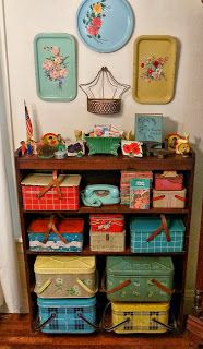 vintage tin picnic baskets   P1080490SH+vintage+picnic+tin+basket+metal+collection+aqua+phone+trays ...