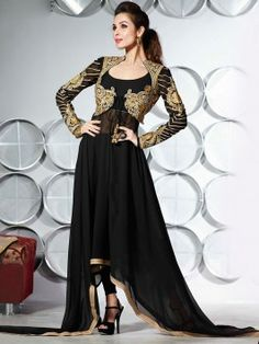 Black Georgette Anarkali Suit With Embroidery And Stone Work www.saree.com