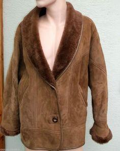 SHEARLING TAN leather real sheepskin COAT MENS Size 46 Desinger ...