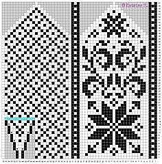 Knitting Charts, Knitting Socks, Knitting Patterns, Knitted Mittens Pattern, Crochet Mittens, Weaving Patterns, Craft Patterns, Beaded Cross Stitch, Fair Isle Knitting