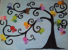 thoughts on how to pain the tree trunk. Did this with cardstock leaves instead of buttons