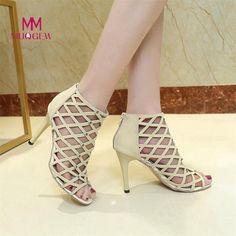 78682a22ca5bc7 MUQGEW - 2018 Fashion Women s Fashion Peep Toe High Heels Shoes Rivet Roman  Gladiator Sandals Gladiator Thin Heels Shoes
