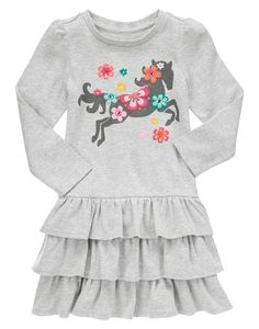 Pretty horses! Stylishly comfy dress features a galloping horse glammed up with flowers and sparkles. WARNING: CHOKING HAZARD - Small parts. Not for children under 3 yrs.