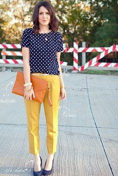 yellow pants, blue shirt.
