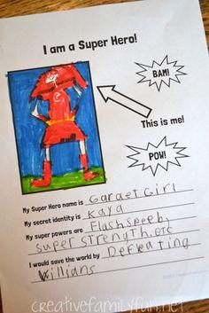 Creative Family Fun: I Am a Super Hero! Writing Prompt