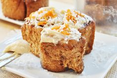 Carrot Cake Cinnamon Rolls Vegan- walnut-raisin filling. Vegan cream cheese frosting. Shredded carrots, yeast, cinnamon, maple syrup, coconut sugar.