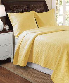 Loving this Yellow Vanderbilt Quilt Set on #zulily! #zulilyfinds $74.99  Greenland  Home Fashions