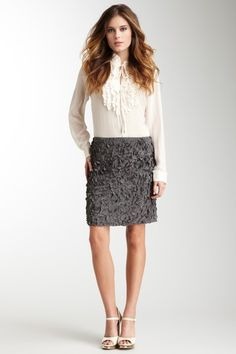 love the texture of this skirt!  Gold Hawk  Floral Collage Skirt