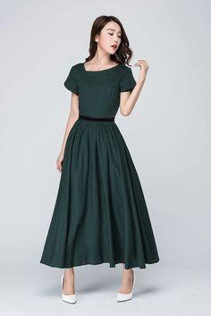 green linen dress prom dress fitted waist dress party by xiaolizi