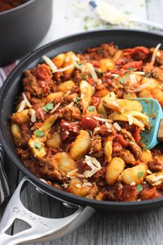No-boil gnocchi with Italian sausage is combined with homemade marinara sauce for an easy, hearty meal perfect for both weeknights or your next date night dinner.