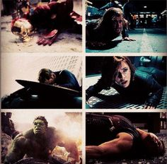They're all like, I fell heroically! And then there's Hawkeye, who's like, OW I FELL FLAT ON MY BACK