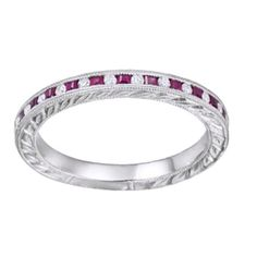 Princess Cut Simulated Pink Ruby & Natural Diamond Anniversary Band Ring In Solid White Gold, By Jewel Zone US Diamond Gemstone, Diamond Rings, Gemstone Rings, Diamond Anniversary Bands, Princess Cut Diamonds, Natural Diamonds, Band Rings, White Gold, Engagement Rings