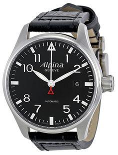 Montre Alpina Automatic - Homme - AL-525B3S6 - Automatique - Analogique - Verre Saphir - Cadran en Acier inoxydable Argent - Bracelet en Cuir Noir - Date