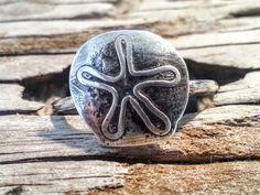 Sand Dollar Ring, Silver Ring, Argentium Silver Ring, Handcrafted Silver Ring, Handcrafted Jewelry, Silver Sand Dollar, by donnaspretties on Etsy