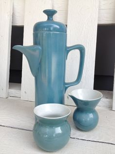 Vintage Contemporary Tea or Coffee Pot Matte Blue With Matching Creamer & Sugar   by PaintItWhiteDecor, $45.00