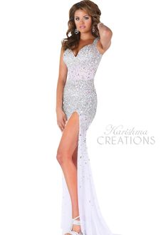 Envious Couture by Karishma Creations 3687 White Sparkly Sequin Dress with sexy front side slit, Jeweled Prom Dresses, Pageant Gowns