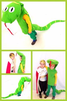 Green yellow kids costume, felt, Sammy snake