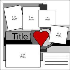 Scrapbook page layout Scrapbook Layout Sketches, 12x12 Scrapbook, Scrapbook Templates, Wedding Scrapbook, Disney Scrapbook, Card Sketches, Scrapbook Paper Crafts, Scrapbooking Layouts, Scrapbook Patterns