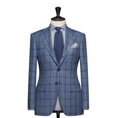 Tailored Jacket – Fabric 8167 Windowpane Blue Cloth weight: 280g Composition: 100% Wool Super 120's